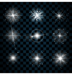 Shine stars with glitters and sparkles icons vector image vector image