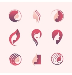 Beauty salon logo set vector image