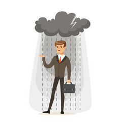 depressed businessman with briefcase standing in vector image vector image