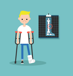 disabled blond boy on crutches with broken leg vector image vector image