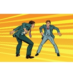 Duel businessmen on smartphones in the style of vector image