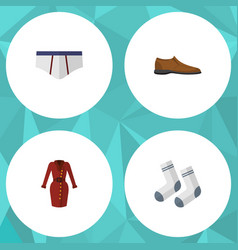 Flat icon clothes set of clothes male footware vector