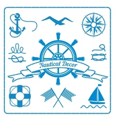 nautical badges and decor vector image