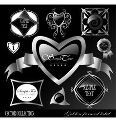 Retro black silver label vector image