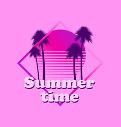 80s retro sci-fi palm trees on a sunset retro vector image