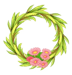 A round border with pink flowers vector image