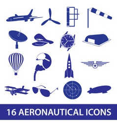 aeronautical icons set eps10 vector image