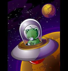 alien teddy bear cartoon character in a flying sau vector image