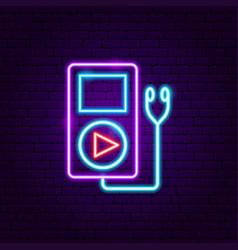 Audio player neon label vector