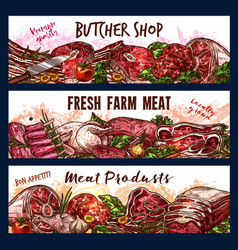 Banners with fresh meat vector