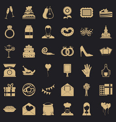banquet cake icons set simple style vector image