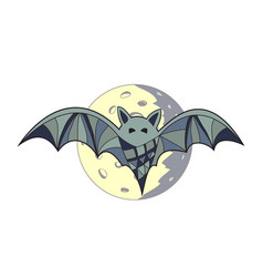 Bat in full moon background vector