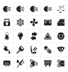 Black Car interface sign and icons vector