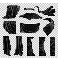 Black curtain image drapery fabric 3d realistic vector