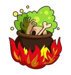 boiling on fire cauldron icon cartoon style vector image