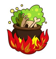 Boiling on fire cauldron icon cartoon style vector