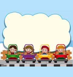 Border template with four kids in the cars vector