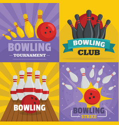 Bowling kegling banner concept set flat style vector