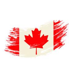 canadian flag grunge brush background vector image