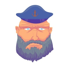 Cartoon aptain sailor face with Beard and Cap vector