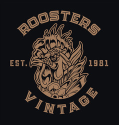 chicken rooster logo vintage tattoo vector image