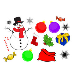 christmas icon set symbol design winter isolated vector image