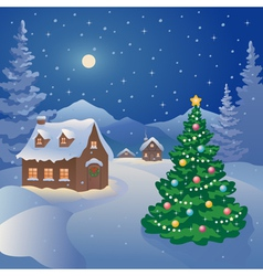 Christmas mountain village vector