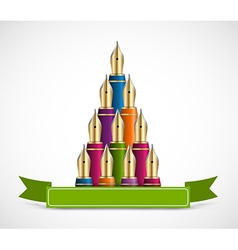 christmas tree colored ink pen background vector image