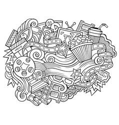 cinema hand drawn cartoon doodles vector image