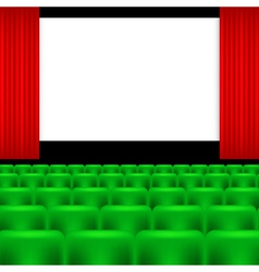 Cinema screen and green seats vector