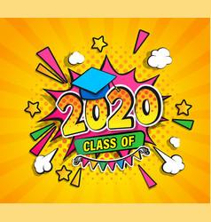 Class 2020 graduation banner vector