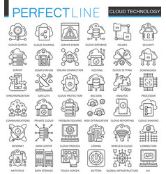 cloud data technology services outline concept vector image