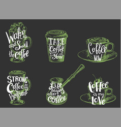 Coffee quotes hand lettering typography vector