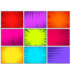 comic book colorful radial lines collection vector image