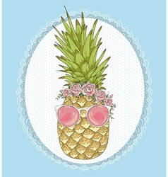 Cute hipster pineapple with sunglasses and flower vector