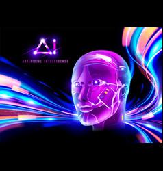 cyberpunk ai technology vector image