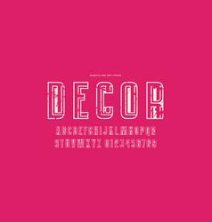 Decorative hollow sans serif font vector