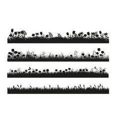 different grass banner silhouette collection in vector image
