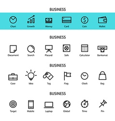 Different line style icons set vector image