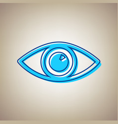 Eye sign sky blue icon with vector
