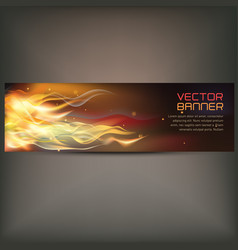 Fire flame banner on gray vector