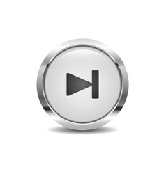 forward icon image round 3d button with metal vector image