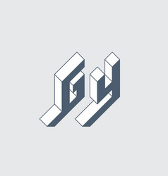 g and y - monogram or logotype isometric 3d font vector image
