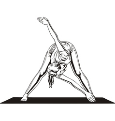 Girl doing stretching vector