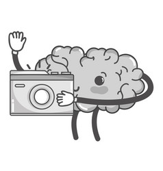 Grayscale kawaii happy brain with digital camera vector