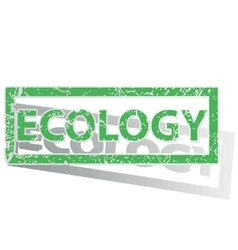 Green outlined ECOLOGY stamp vector