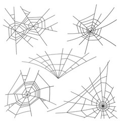 Halloween spider web set black spider web vector