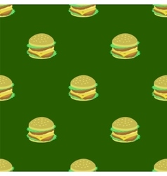 Hamburger Seamless Pattern on Green Background vector image