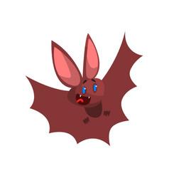 Happy cartoon halloween bat character flying vector