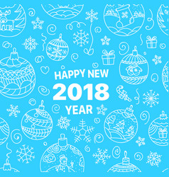 happy new 2018 doodle elements vector image